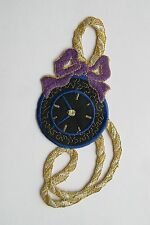 #2262 Pocket Watch w/Bowknot,Rope Embroidery Applique Patch