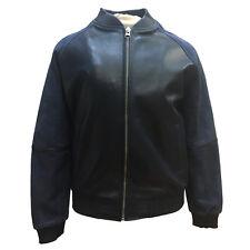 Men's Navy Blue Baseball Varsity Bomber Jacket Leather Suede Sleeves Size Medium