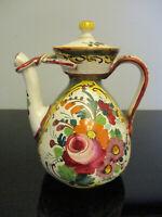Vintage Italian Italy Hand Painted Rose Faience Art Pottery Coffee Tea Pot!