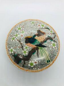 Vintage Porcelain Dish Trinket Box with Lid Flower and Birds Japan