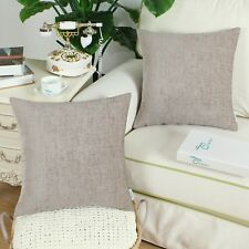 2Pcs Taupe Cushion Covers Pillows Shells Solid Dyed Soft Chenille 16X16 Inches