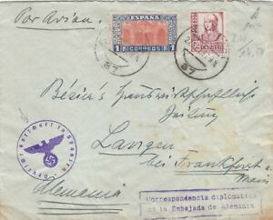 SPAIN 1937 DIPLOMATIC MAIL COVER SENT TO FRANKFURT WITH SPECIAL CACHET