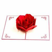 1X(3D Pop up Rose Danke Gruss Postkarten Blume handgemacht Leer Jahrgang A8E8)