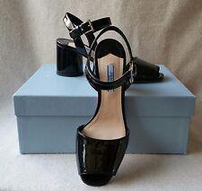 NIB Prada 37.5 Black City Classic Patent Leather Block Round Heel Sandals Shoe