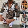 Slim Men Luxury Long Sleeve Tops Tee Fit Casual Sun Flower Printed Shirts