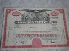 Vintage share certificate Stocks Bonds Pan American world airways inc