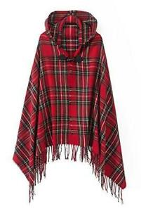 Women's Vintage Plaid Knitted Tassel Poncho Shawl Cape Button Cardigan (One