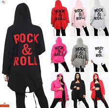 Women Rock & Roll Back Oversized Sweatshirt Ladies Hoodie Cardigan Jacket Coat
