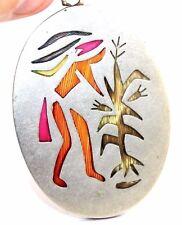 "BIG 2""+ Vtg Modernist PLUMA AZTECA DYED FEATHER Silver CORNPLANTER TRIBE Pendant"