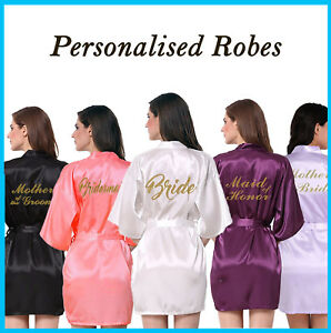 Wedding Brides Bridesmaid Bridal Party Robe Gown.Personalised Gold Print +more!
