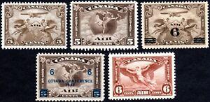 Canada Air Mail 1928 to 1935 - Scott C1,C2,C3,C4,C5 - MH F/VF