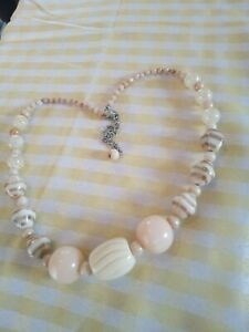 Pretty  Peach, Cream Beaded Necklace with  Gold pattern Tone beads