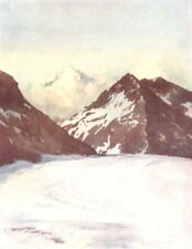 SWITZERLAND. Looking down the Aletsch Glacier 1917 old vintage print picture