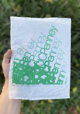 "1970s JC Penny Plastic Shopping Bag 9"" x 12"" 1978 Green Logo Movie Prop Mall Rat"