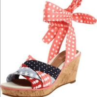 Sperry Top-Sider Sz 7 Santa Rosa Wedge Sandals Polka Dot Ankle Wrap Shoes