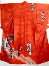 """Japanese kimono  """"TSUKESAGE""""  ,   SILK KIMONO, Chrysanthemum and UME, 62.2"""", 232"""