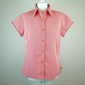 NORTH FACE Womens Button Up Shirt L Red Houndstooth Short Sleeve Zip Pocket Hike