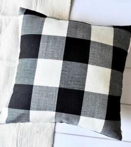 18 x 18in Black and White Check Plaid, Pillow Case Cushion Cover, Farmhouse