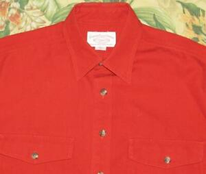 FILSON Red Heavy Tin Cloth Button Down Shirt Large L
