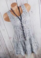 ITALY STYLE Spitzenkleid Sommerkleid Minikleid Longtop Boho Hippy grau 34 36 38