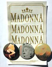 MADONNA Old OG Vtg 1990 Set Of 3 Buttons Pins Badges 37mm Rare Pop Queen
