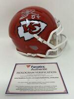 TRAVIS KELCE Autographed Chiefs SB LIV Champ Logo Mini Speed Helmet FANATICS