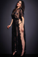 Sexy Babydoll Lingerie Sheer Chemise Evening Gowns CAFTAN Robe High Slit Dress