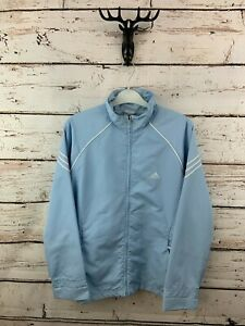 ADIDAS Womens Tracksuit Top Track Jacket 12 Light Blue Polyester