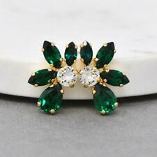 Women's 3 Ct Marquise Emerald & CZ Cluster Bridal Earring 14k Yellow Gold Finish