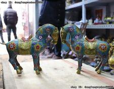 China Copper Cloisonne Enamel Gilt Zodiac Year Horse Horses Animal A Statue Pair