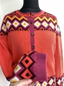 Heyton Cardigan Size 16 Orange Pink Fair-Isle Lambswool Blend Retro Knit Casual