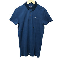 Hollister Guys Blue Zig Zag Patterned Stretch Tipped Polo Size S New RRP £25