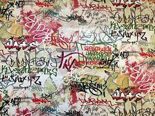 GRAFFITI MULTI COLOURED POLYCOTTON PRINT CURTAIN & SOFT FURNISHING CRAFT FABRIC