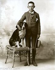 Vintage Dog Photo Boy Knickers Straw Hat Flower Bow Tie Posing With Terrier
