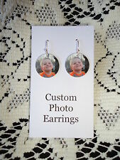 *Personalized* PHOTO EARRINGS with YOUR PICTURE - Custom Charm Earrings - FUN!!