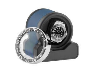 Scatola del Tempo Uhrenbeweger Rotor One Sport Blue Leder 110x100x105mm Neu