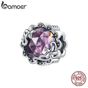 BAMOER Fine S925 Sterling Silver Purple glass Charm Bead Fit Bracelet Jewelry
