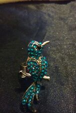 Fashion Silver Bird Design Ring Covered in Bright Blue Crystals