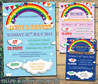 10 Personalised Birthday Party Invitations Rainbow Bunting Poster Clouds Unisex