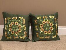 Vintage Floral Motif Decorative Silk Embroidered Square Pillow Case