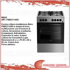CUCINA 4 FUOCHI A  GAS CON FORNO ELETTRICO   85X60X60 BEKO FSE62110DX INOX