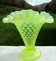 "Fenton Topaz/Vaseline Opalescent Hobnail Cone Vase 8""H x7.75""W 1941-44 Rare"