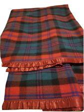 Vintage Raymond Jade Glow Blanket Red/blk/grn/burgandy 100% Wool 229 x 183 Cms