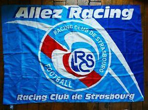 """GRANDE BANDEROLE  collector  RACING CLUB DE STRASBOURG , """"ALLEZ RACING"""""""