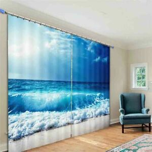 Wave Connecting Sea 3D Curtain Blockout Photo Printing Curtains Drape Fabric