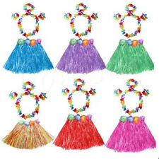 1/5pcs Kids Hawaiian Grass Hula Lei Skirt Flower Wristband Garland Fancy Costume