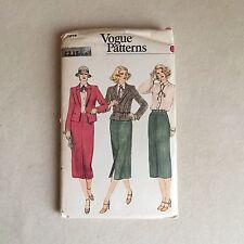 Vintage VOGUE #7214 JACKET, Midi SKIRT and BLOUSE Shirt SEWING Pattern 14 UNCUT