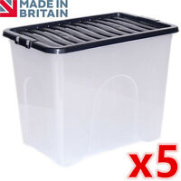 5 x 80L 80 Litre Large Plastic Storage Clear Box Strong Stackable Container New