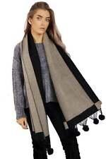 Womens Ladies Winter Warm Scarf Tartan Check Neck Shawl Real Fur Pom Pom Woolly