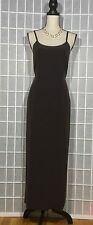 LAURA ASHLEY 100% Silk Spaghetti Strap Fully Lined Maxi Dress Brown Size 10
